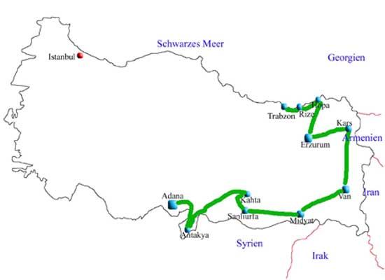 Von Trabzon nach Adana auf einen Blick