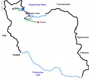 Adebil-Täbris, zweite Teilstrecke Iran